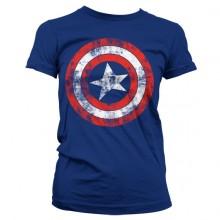 Captain America Distressed Shield Naisten T-Paita Sininen