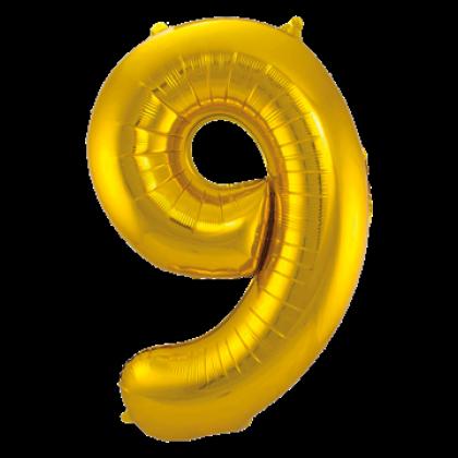 Jumbo Sifferballong Guld 9