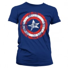 Captain America Distressed Shield Naisten T-Paita Sininen