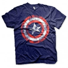 Captain America Distressed Shield T-Paita Sininen