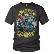 Justice League Team - Tummanharmaa T-Paita
