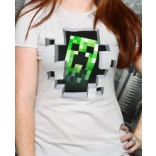 Minecraft Creeper Inside Naisten T-paita