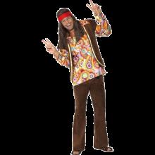 Psykedeelinen 60-luvun Hippi Naamiaisasu