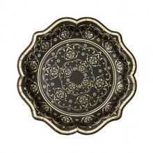 Lautaset Elegantti Musta ja Kulta 12-pakkaus