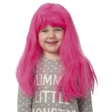Pitkä Suora Vaaleanpunainen Tukka Peruukki Lasten Koko