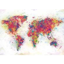 Maailmankartta Juliste Väriroiskeet 100x140 cm