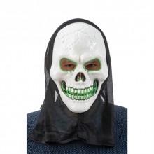 LED Mask Dödskalle med Huva Grön
